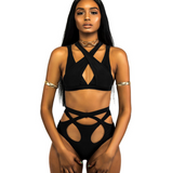 Summer new fashion solid color bind hollow straps two piece bikini swimsuit Black
