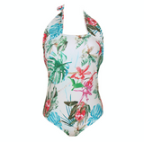Summer new fashion floral leaf print straps one piece bikini swimsuit