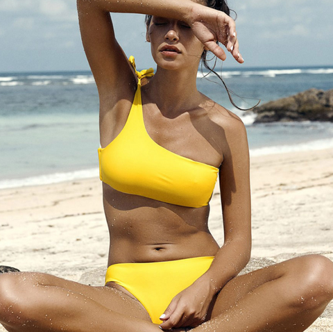 Summer new fashion solid color straps single shoulder two piece bikini swimsuit Yellow