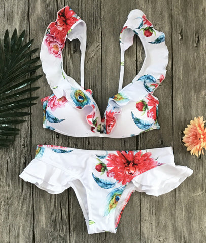 Summer new fashion floral print straps lotus leaf side two piece bikini suit swimsuit White