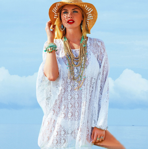 Summer Beach New Fashion Loose Lace Hollow Dress White