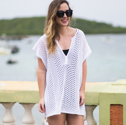 Beach Summer New Fashion Hollow Short Sleeve Dress White