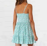 Summer New Fashion Floral Print Straps Dress Women Green