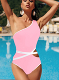 Personality belt one-shoulder bikini one-piece swimsuit