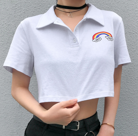 Explosion style street fashion hip hop women's Polo collar small rainbow cotton umbilical T-shirt female