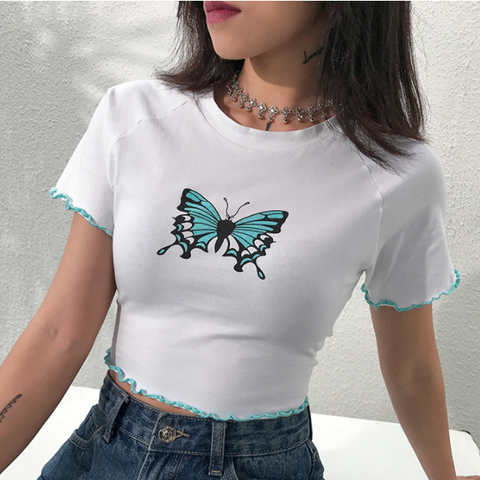 Explosion models women's shirts girls wind butterfly print wood ear slim slimming short t-shirt