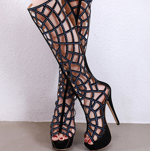 Explosive hot sale hollow rhinestone high heel over the knee boots shoes