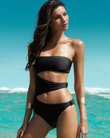 HOLLOW OUT BANDAGE ONE PIECE CUTE BIKINI