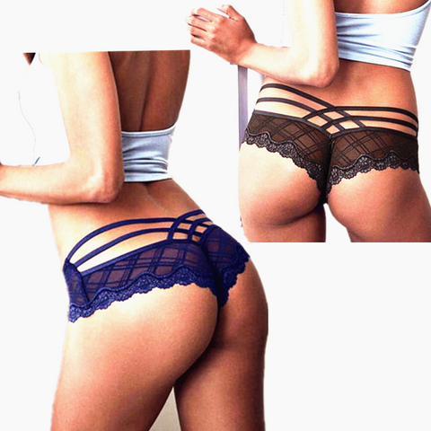 Women Sexy Lace Gauze Underpant Brief Panty black red blue