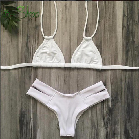 HOT PURE COLOR WHITE TWO STRAPS TWO PIECE BIKINIS