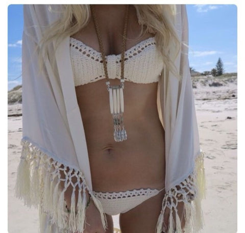 HOT WHITE GREEN WOVEN TWO PIECE BIKINI