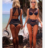 SEXY GAUZE CUTE BLACK LACE LAYERED TWO PIECE BIKINI