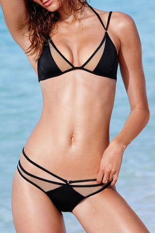 SEXY POLYLINE BLACK NET TWO PIECE BIKINI