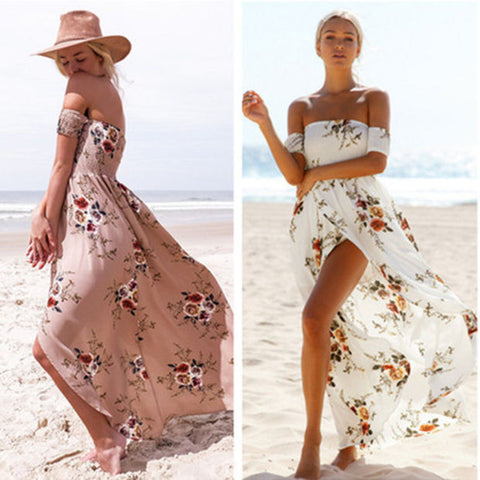 Fashion Sexy Flower Print Backless Off Shoulder Short Sleeve Split Maxi Dress