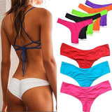 Bikinis Bottom Fashion Simple Women Pure Color T-back Semi V Thong Swimwear High Quality Swimsuit Sexy Bathing Suit Bathers I