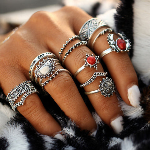 12PCs/Set Stylish Women Vintage Tibet Lucky Red Antique Artificial Stone Moon Knuckle Midi Ring Set for Women Punk Boho Rings Gifts I