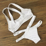 Sexy Hot Sale Women Beach Pure Color Bottom Side Open Low Waist Two Piece Bikini Swimsuit I