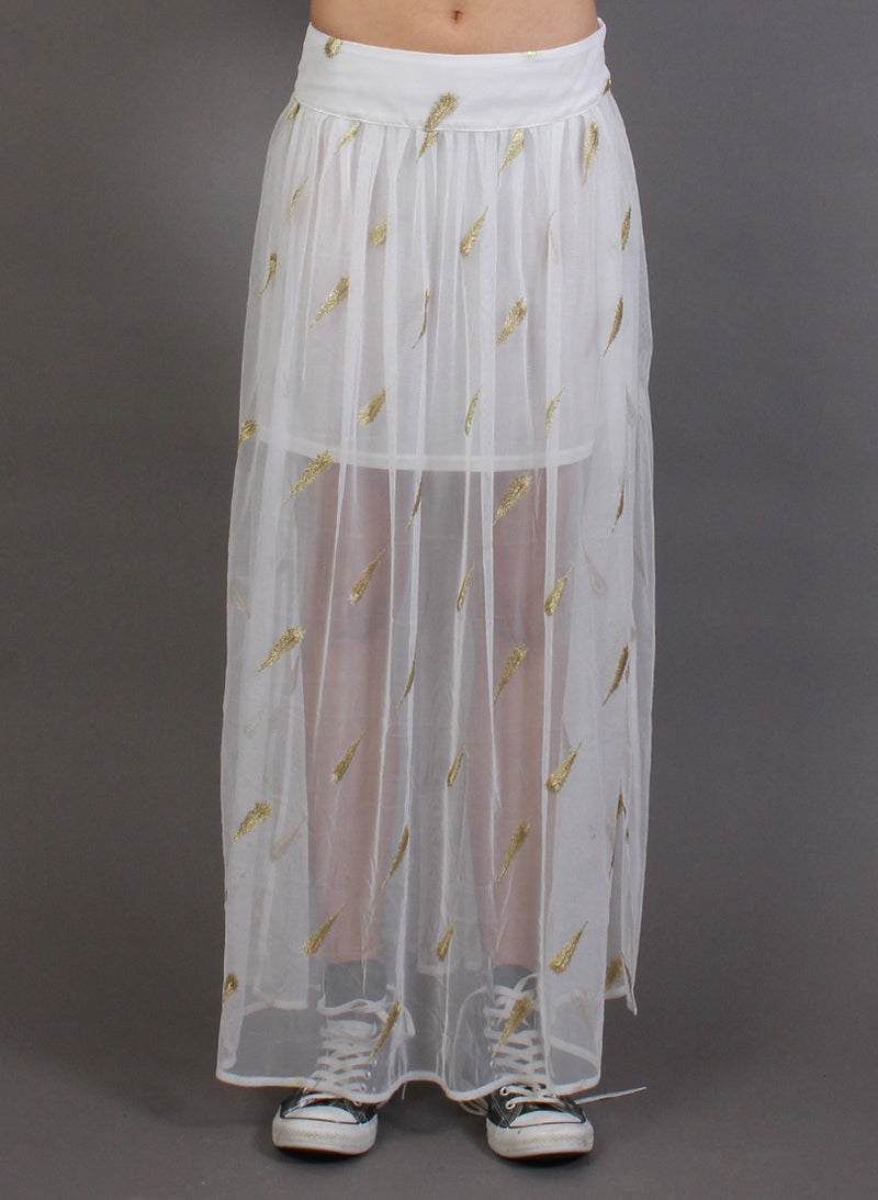 FUN TIME SKIRT WHITE/GOLD
