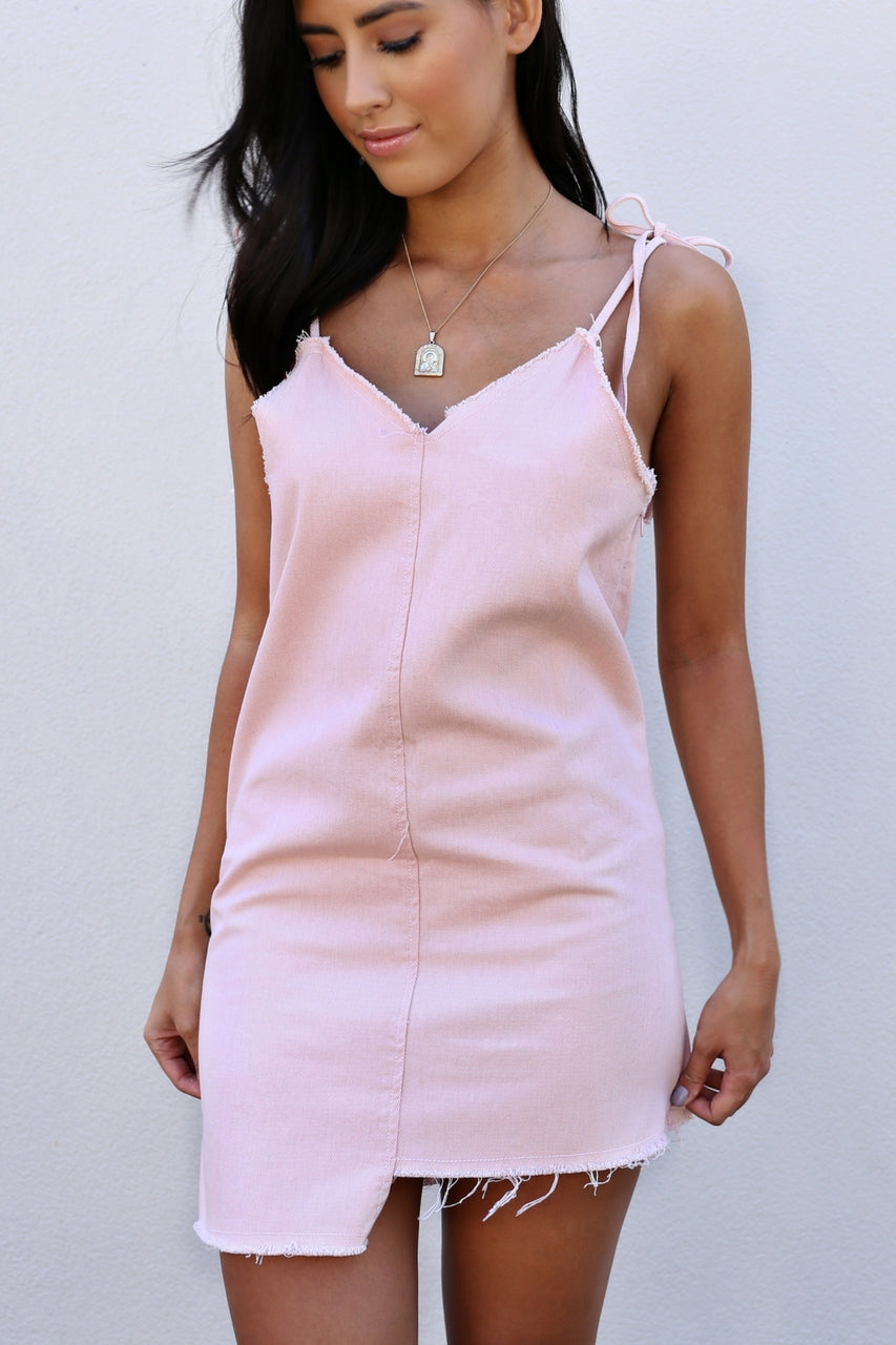 betty pink linen dress tie straps  mve boutique