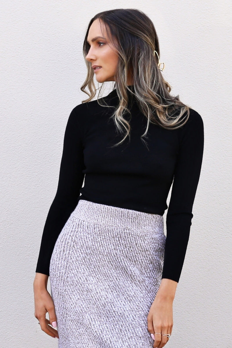 sofia knit black fitted turtle neck knit