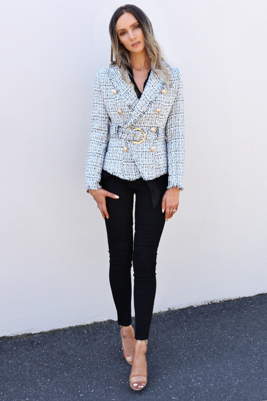 ivory and chain Valentines tweed blazer mve boutique