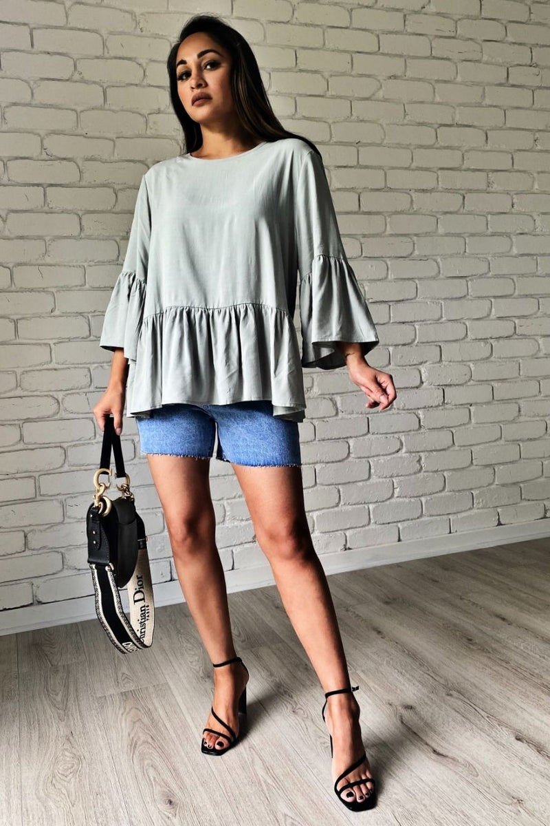 winston top green sage loose fit blue denim shorts