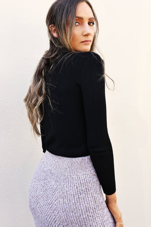 Elliatt Collective Spell Knit Skirt black turtle neck knit top