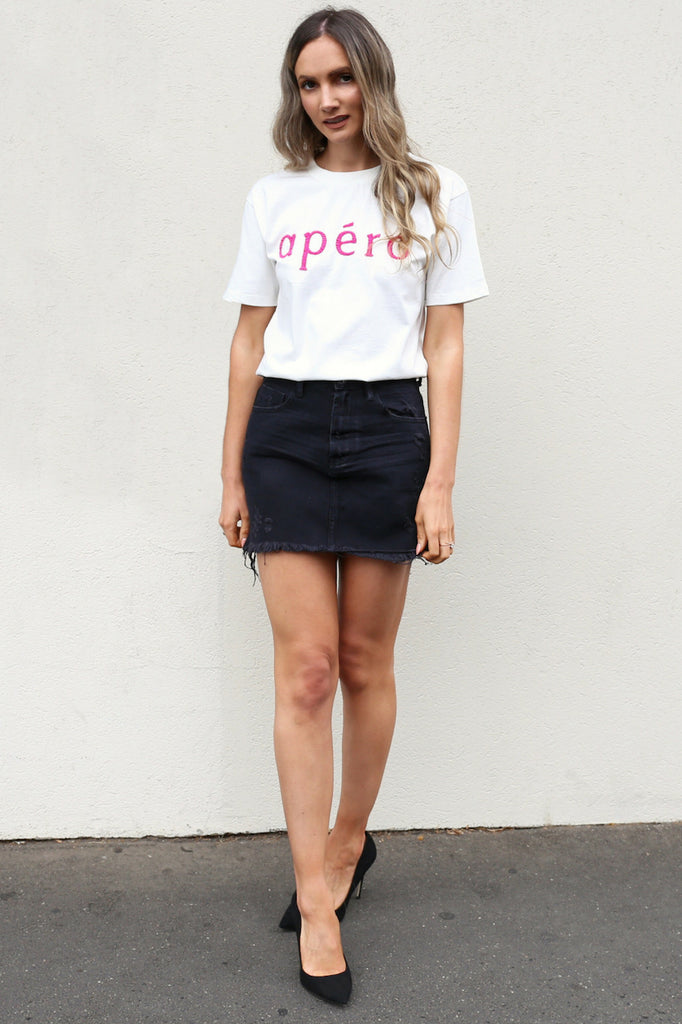 Apéro Beaded Tee hot pink mve boutique