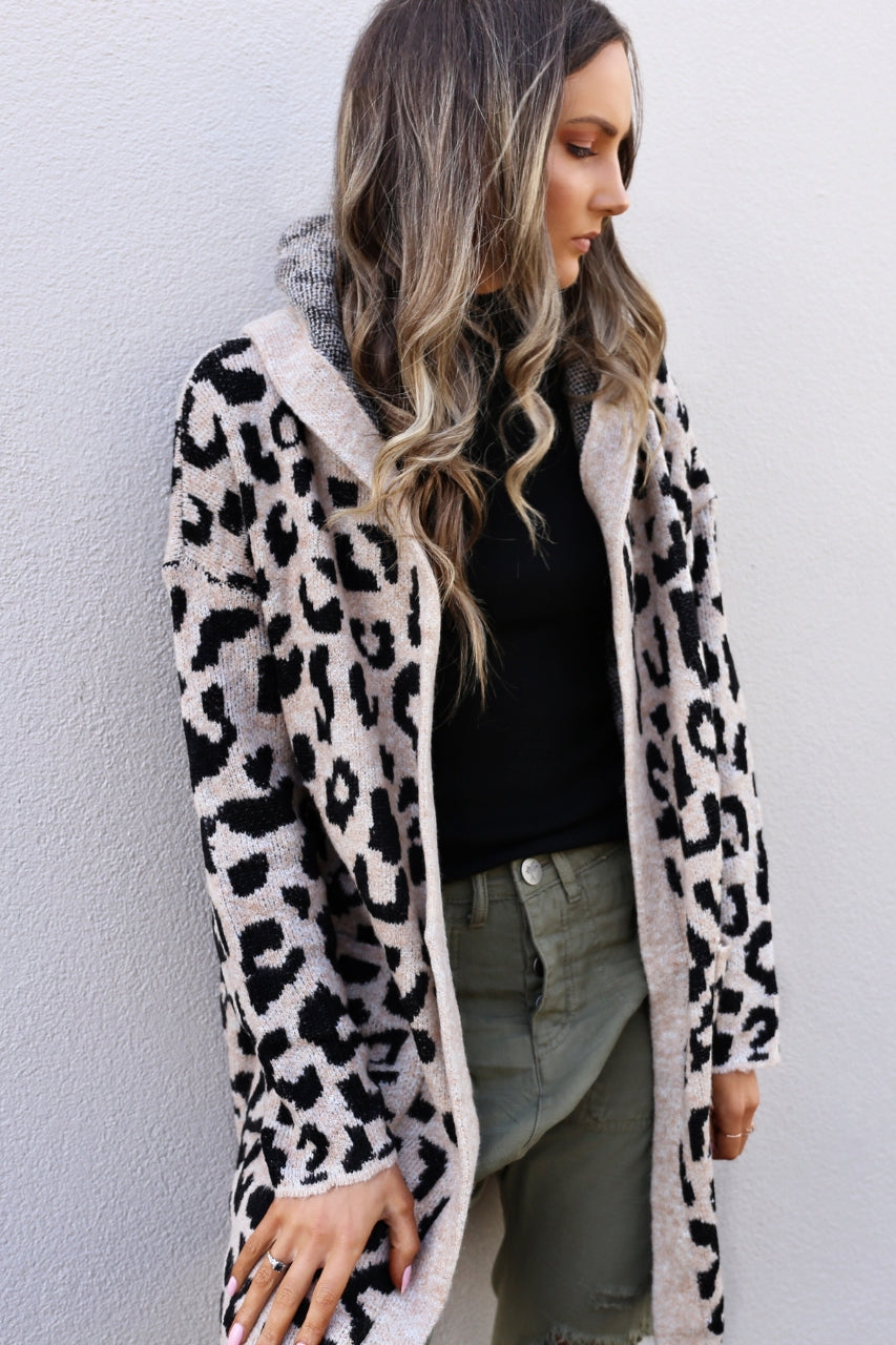 brown leopard hooded cardigan