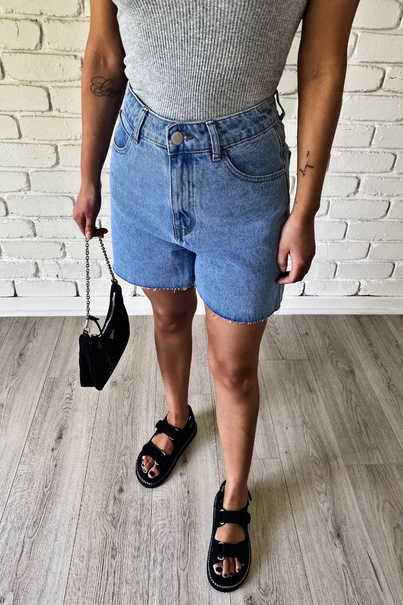 fitted bike denim shorts atoir x rozalia tank top