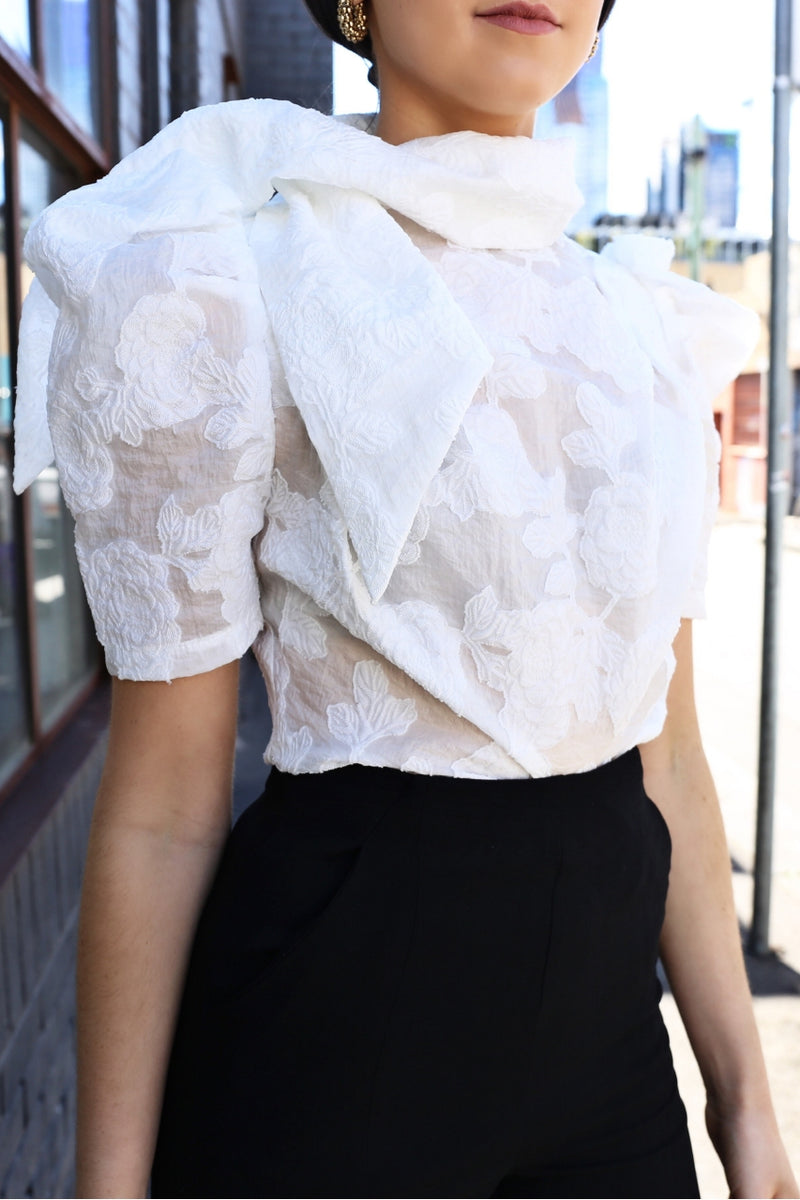 Ivory & Chain Olivera lace top