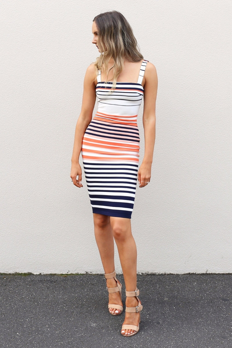 fresh soul Belize Dress stripe fitted dress mve boutique