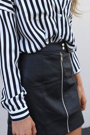 MVN Meant To Be vegan leather Skirt MVE Boutique