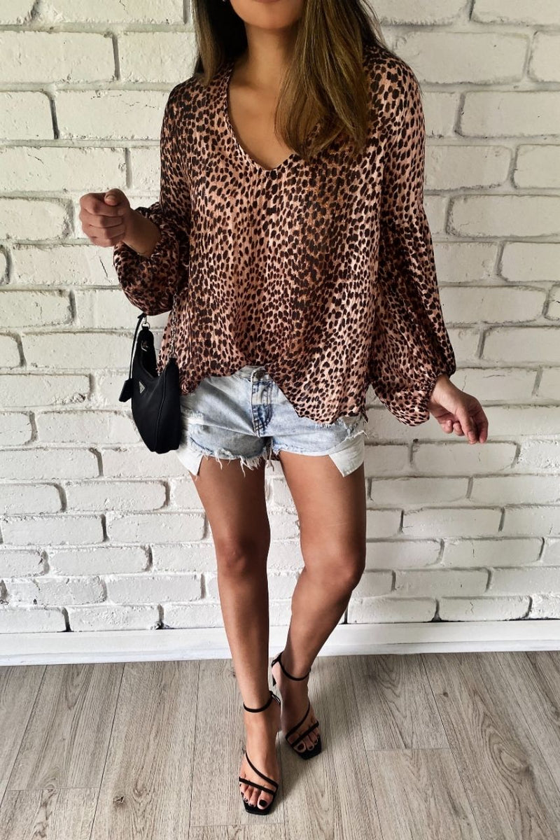 craig top leopard long sleeve loose top