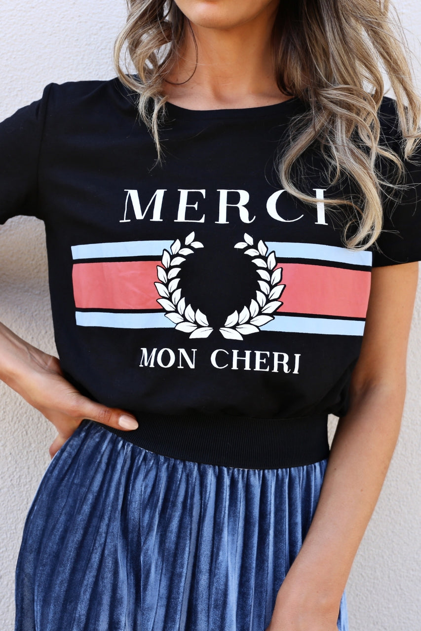 Madison Merci tee - black mve boutique