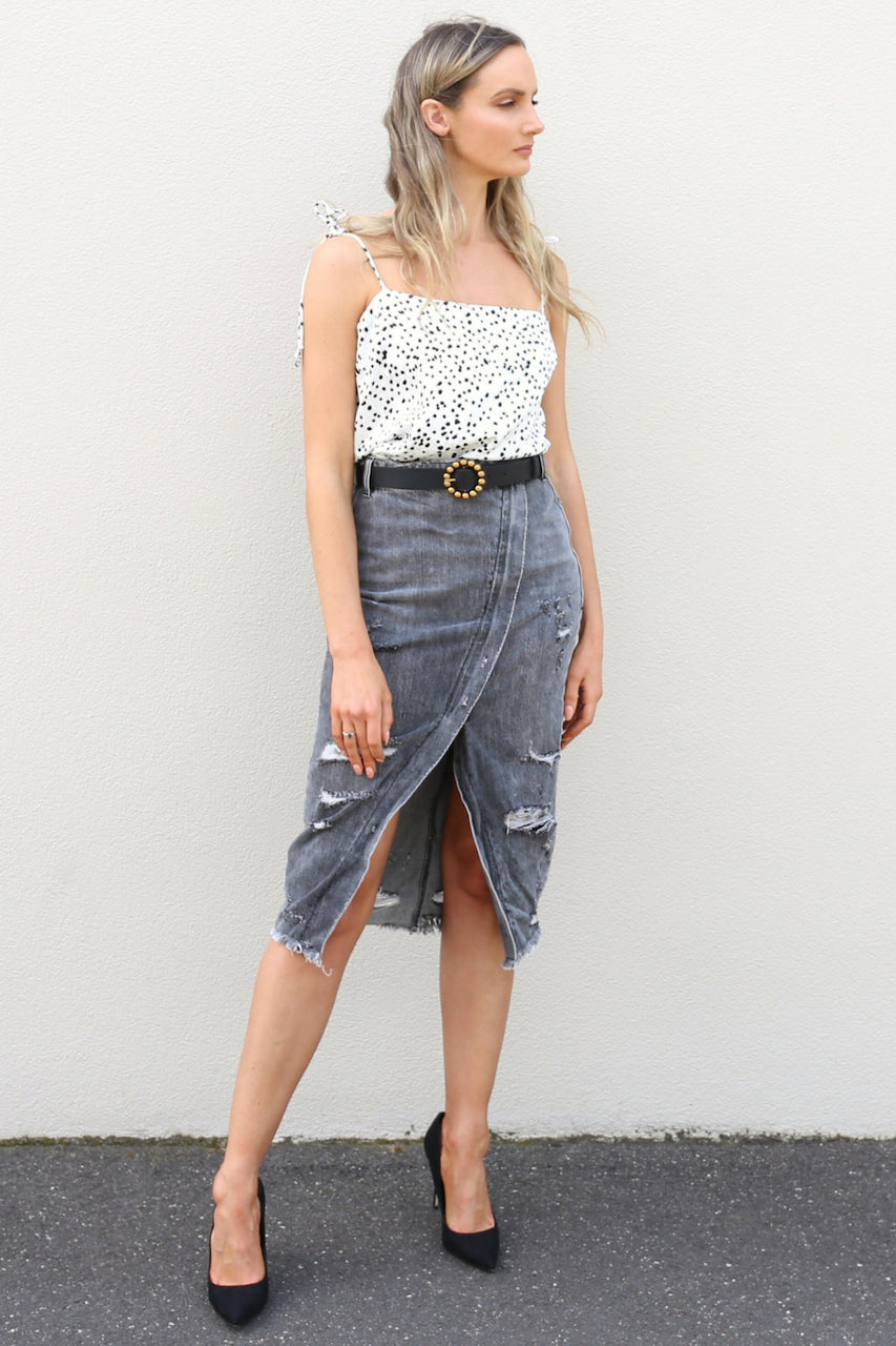 Carlton polka dot white black Cami top