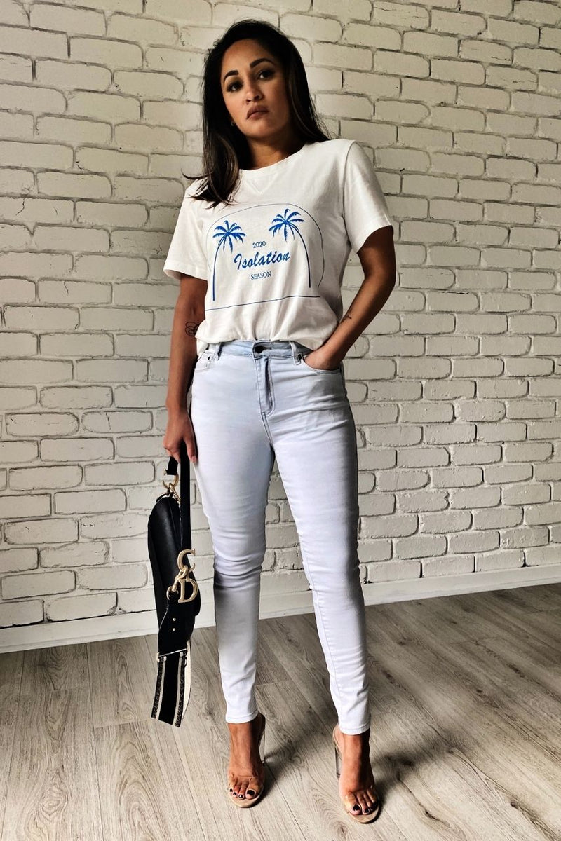 Isolation Season Tee by Madison The Label tony jeans light light blue acid wash jeans