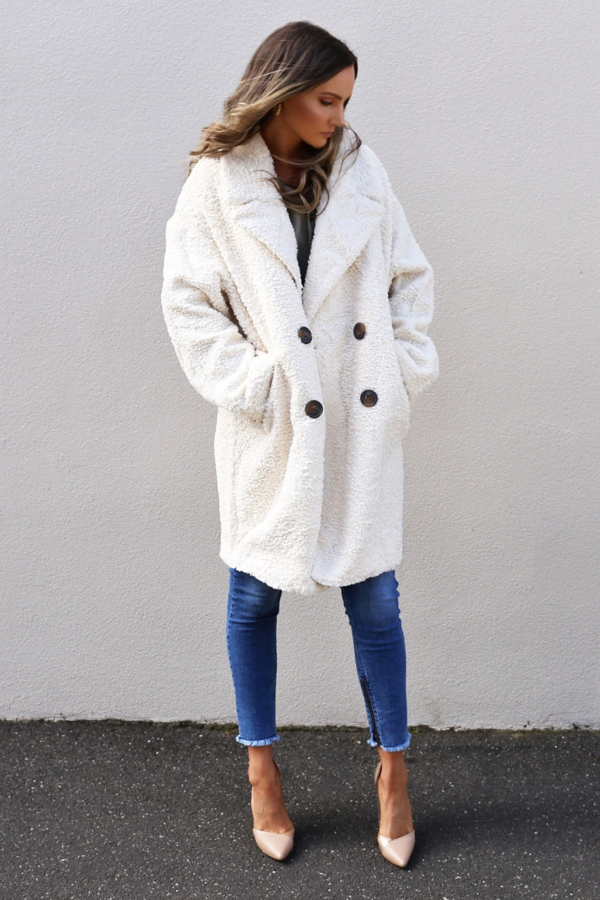 diana coat teddy coat faux fur coat white
