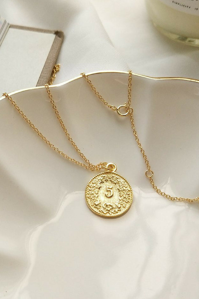 Kitsense -Helvetica Coin Necklace MVE Boutique