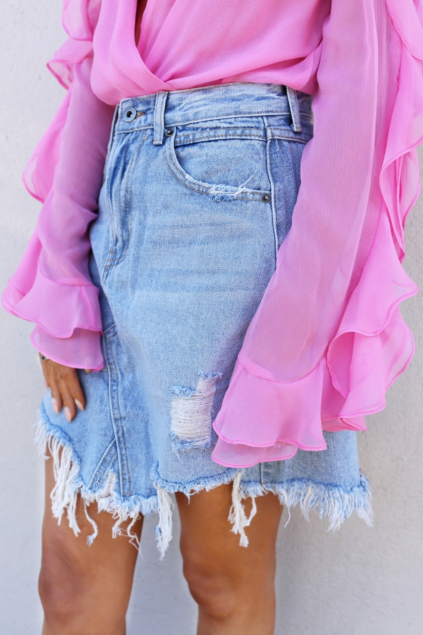 Madison The Label Jaymee Denim Skirt mve boutique