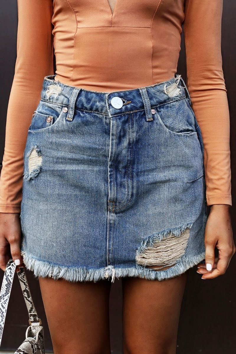 One Teaspoon Colorado Vanguard denim skirt
