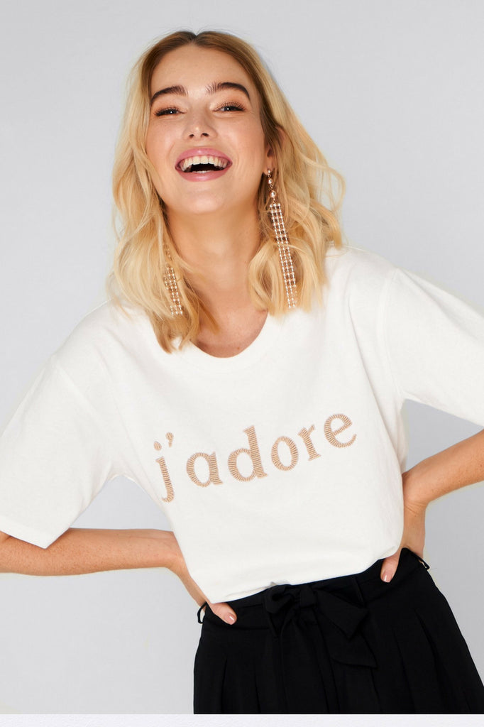 Apero the label J'adore Beaded Tee mve boutique