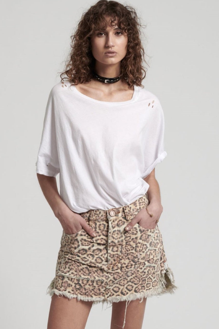 One Teaspoon Leopard Vanguard Mid Rise Skirt