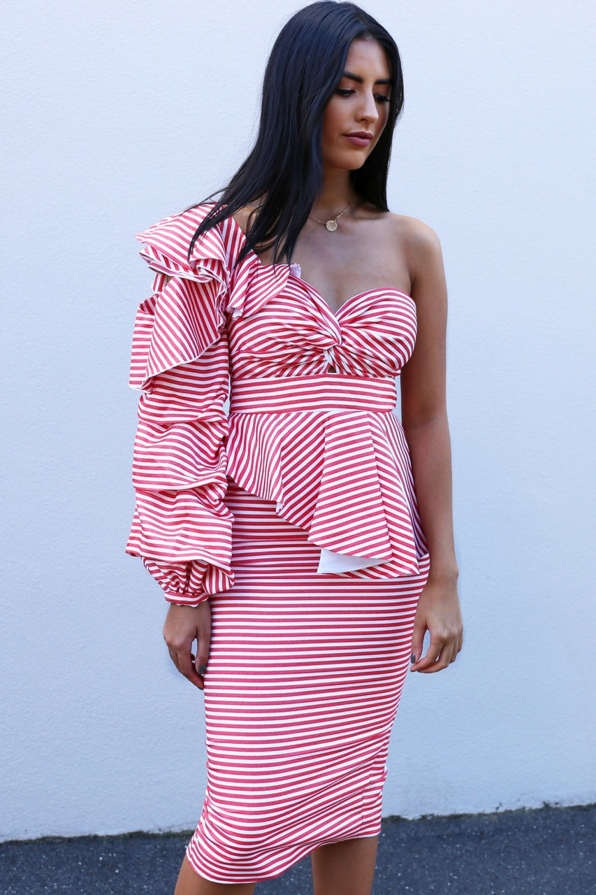 Asilio Epoch Stripe One Shoulder Dress MVE Boutique