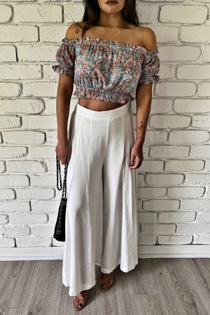 zach pants white wide leg pants asher floral crop