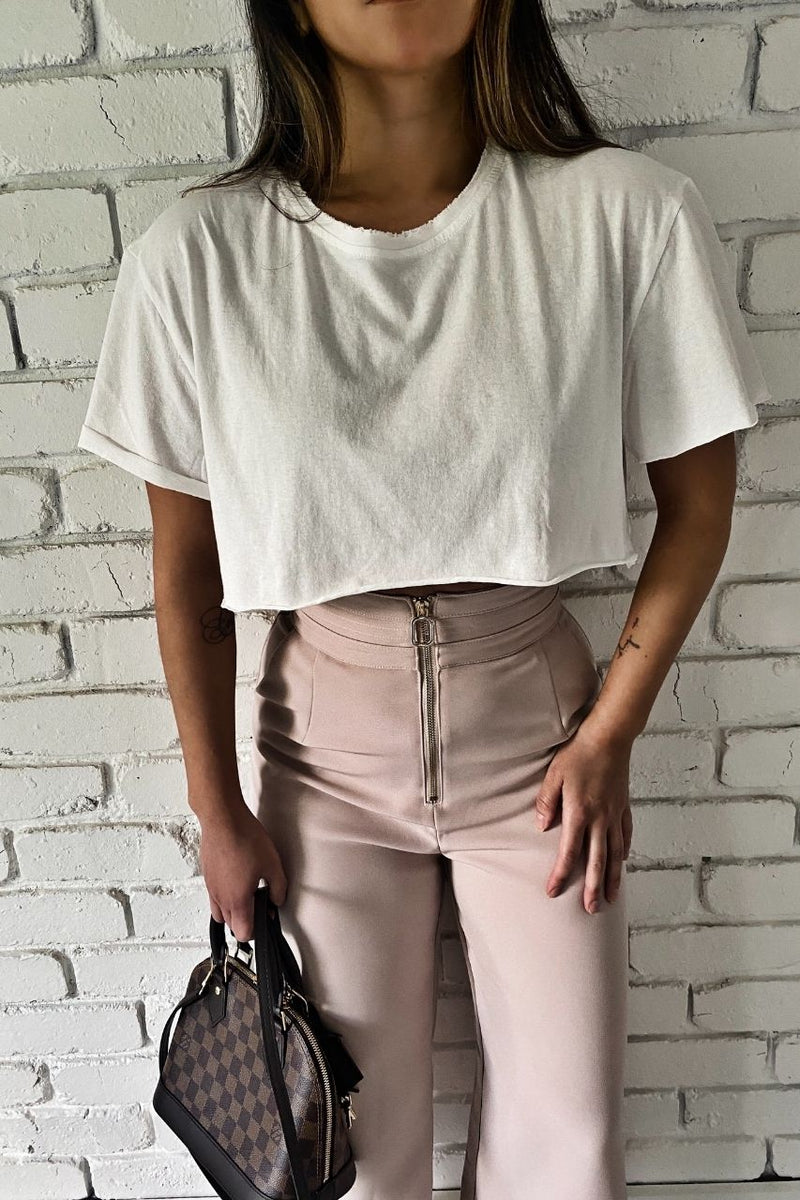 blush high waist pants bf crop tshirt bayse brand