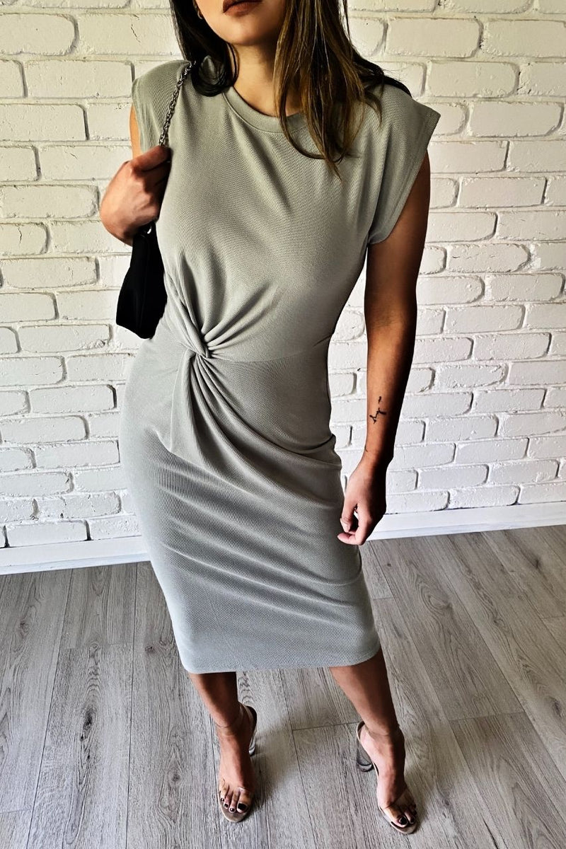 anna midi dress twist khaki dress sage
