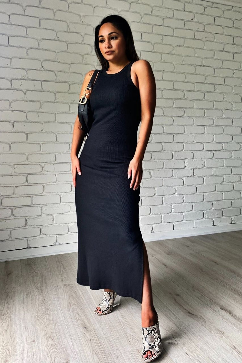 Kennedy Dress black midi dress with split