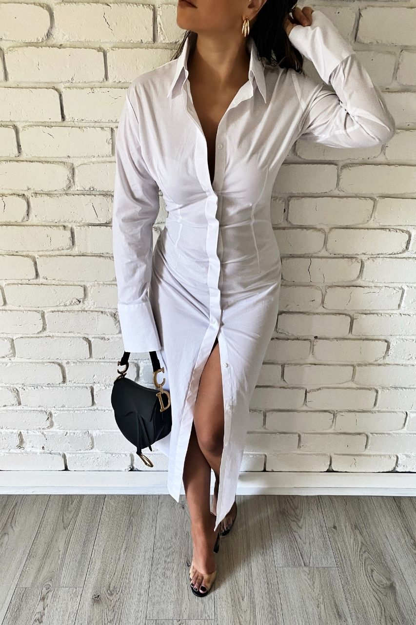 Effie Kats Stretch Maxi Shirt Dress