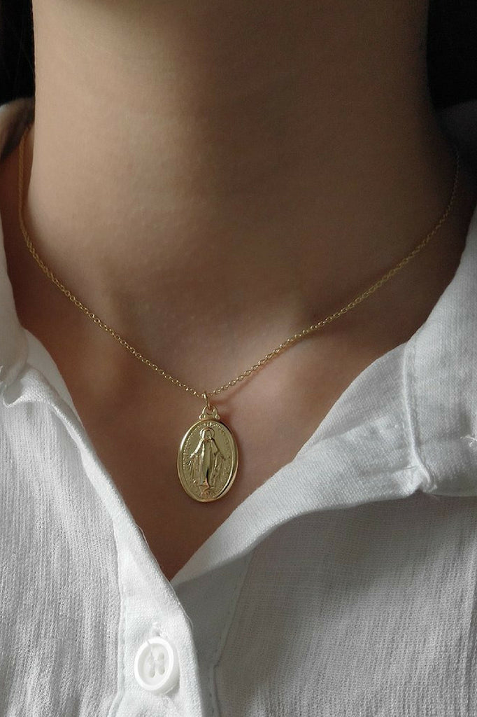 Kitsense - St Mary Oval Coin Necklace MVE Boutique